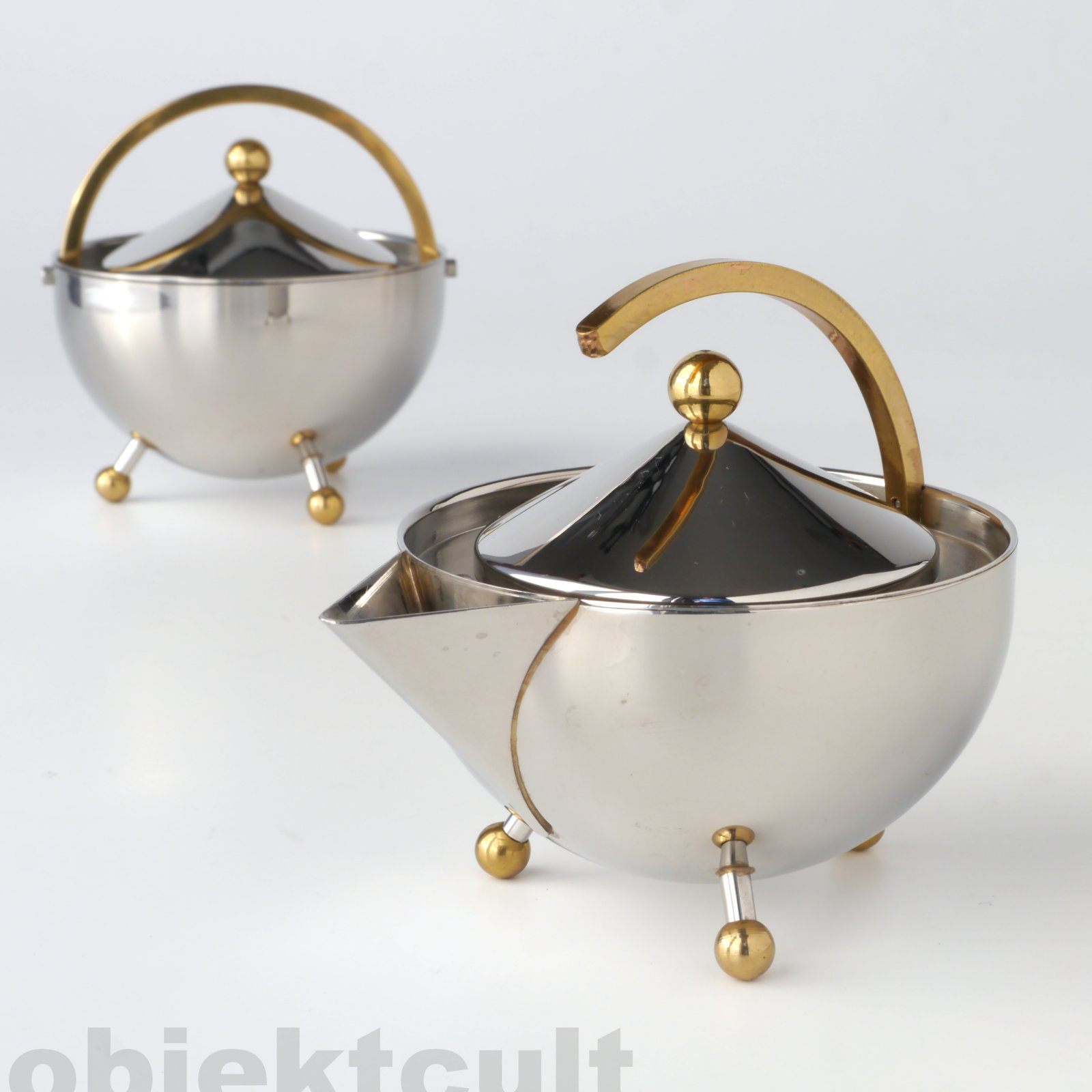 postmodern 80s design bodum teabowl teapot milk sugar inox teekanne memphis. Black Bedroom Furniture Sets. Home Design Ideas
