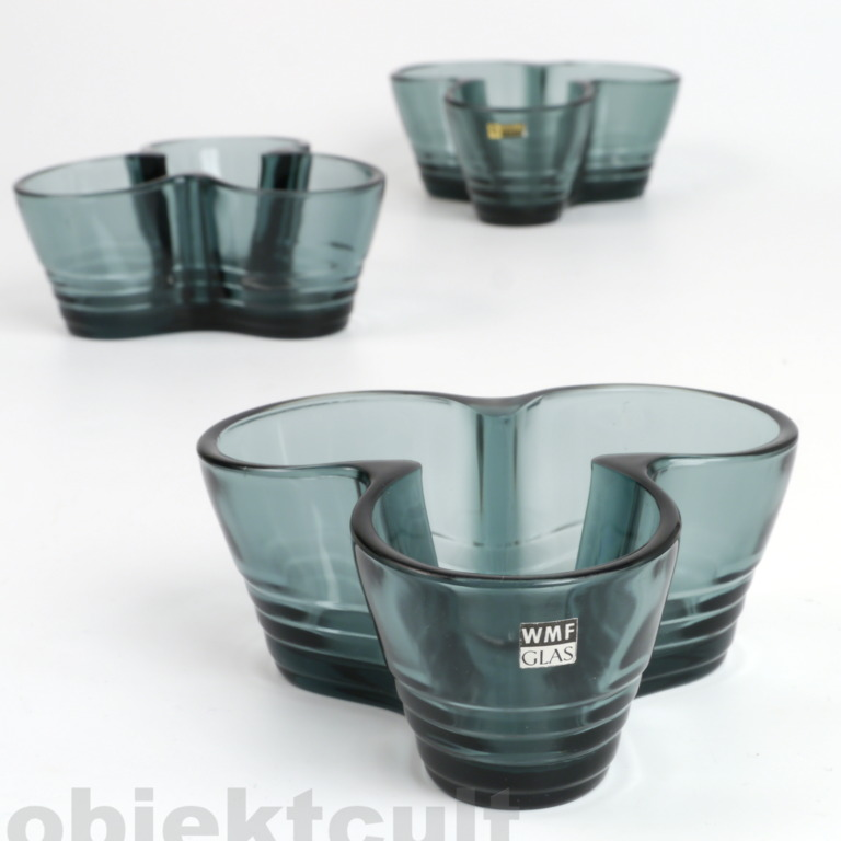 3x wmf kristall glas turmalin schalen ascher bowls w. Black Bedroom Furniture Sets. Home Design Ideas